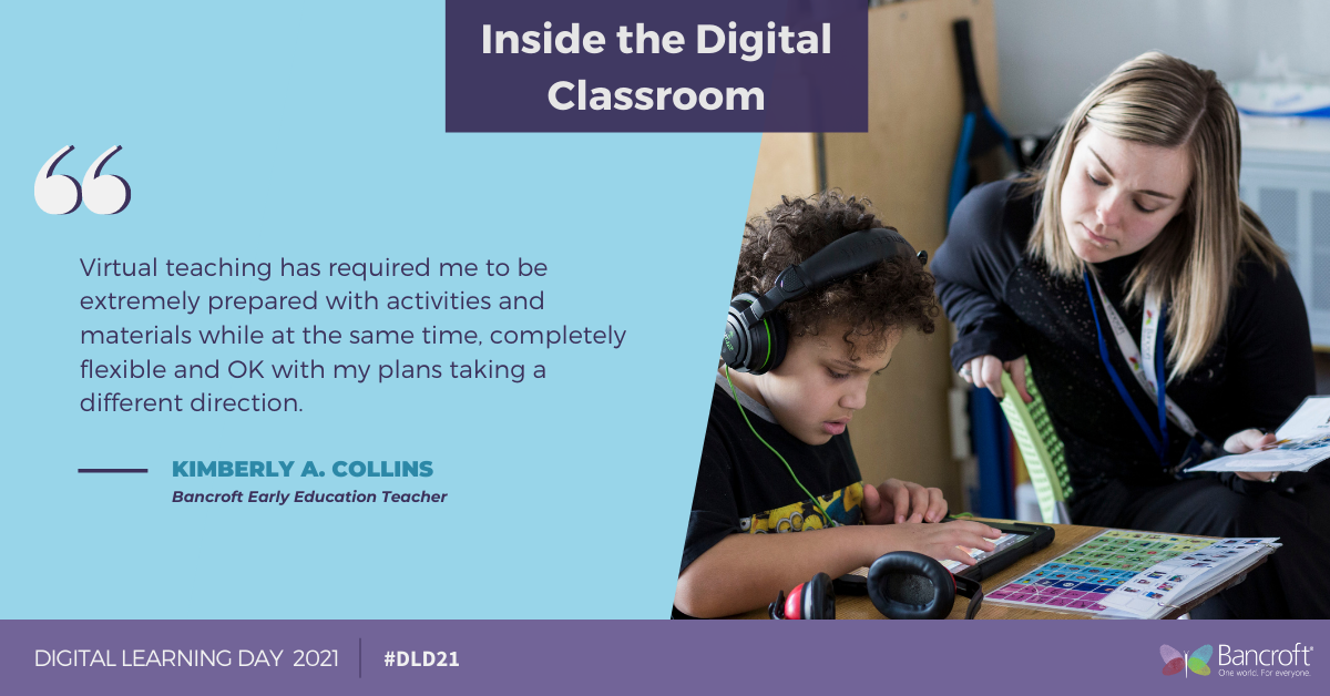 Purple and blue graphic with a quote from Kimberly A. Collins on the right and a picture of a woman teaching a student on the right